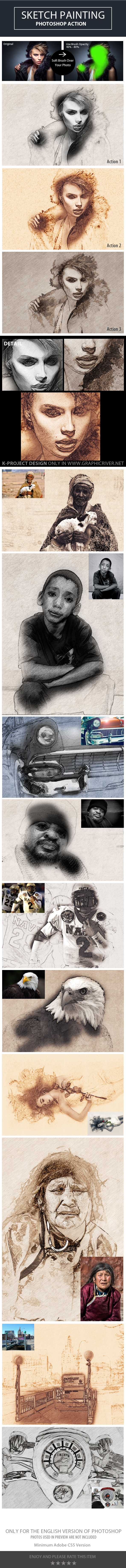 Sketch Painting Photoshop Action - Photo Effects Actions