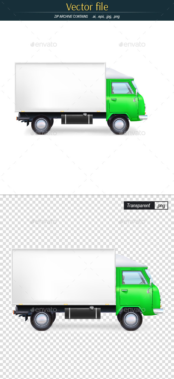 Green Commercial Vehicle - Man-made Objects Objects