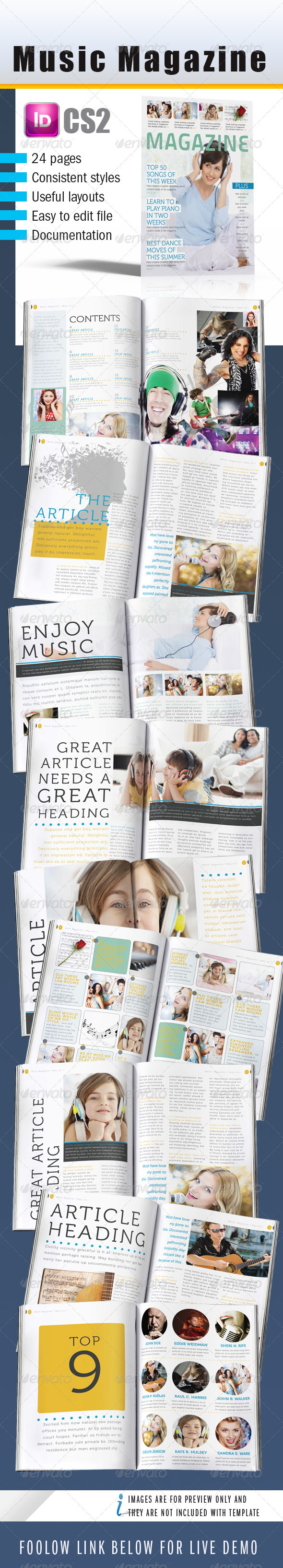 Music InDesign Magazine 24 pages - Magazines Print Templates