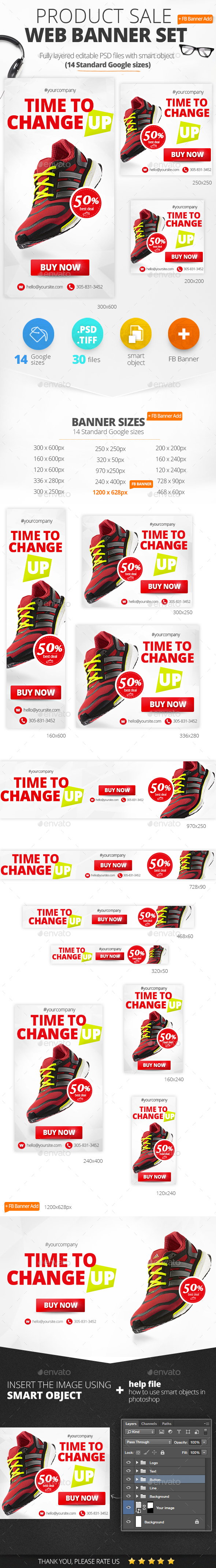 Product Sale Sport Shoes Web Banners  - Banners & Ads Web Elements