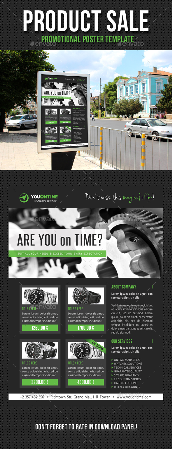 Product Sale Promotion Poster Template V03 - Signage Print Templates