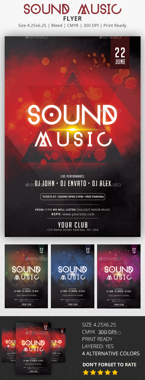 Sound Music - PSD Party Flyer - Clubs & Parties Events