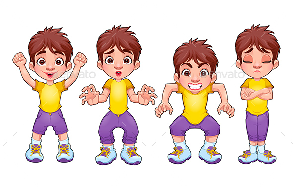 Four Poses of the Same Child, in Different Express - Characters Vectors