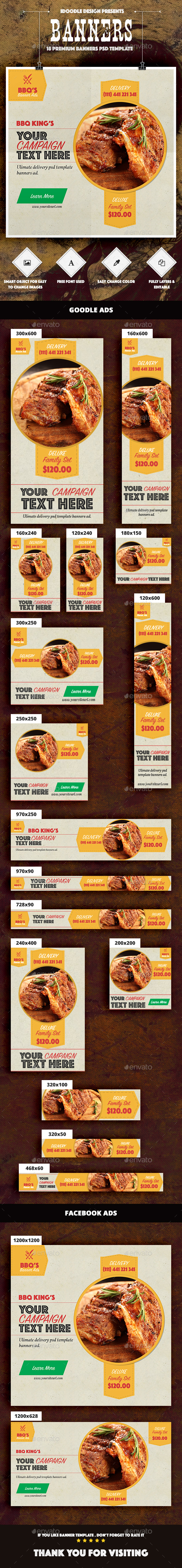 BBQ Food & Restaurant Banners Ad - Banners & Ads Web Elements
