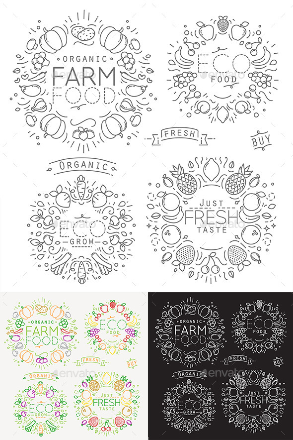 Flat Vegetables Badges and Stickers - Badges & Stickers Web Elements