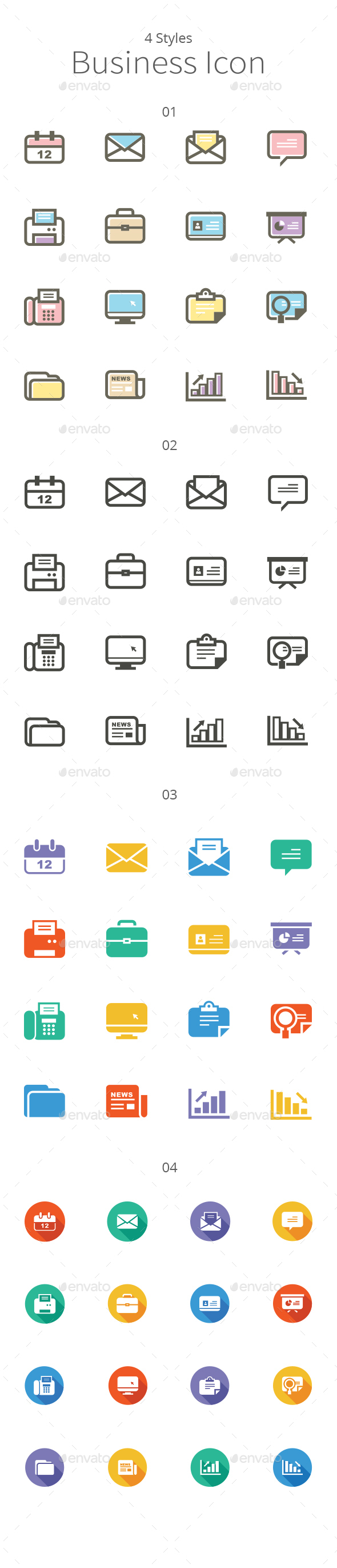 4 Sets of Business Icons - Icons