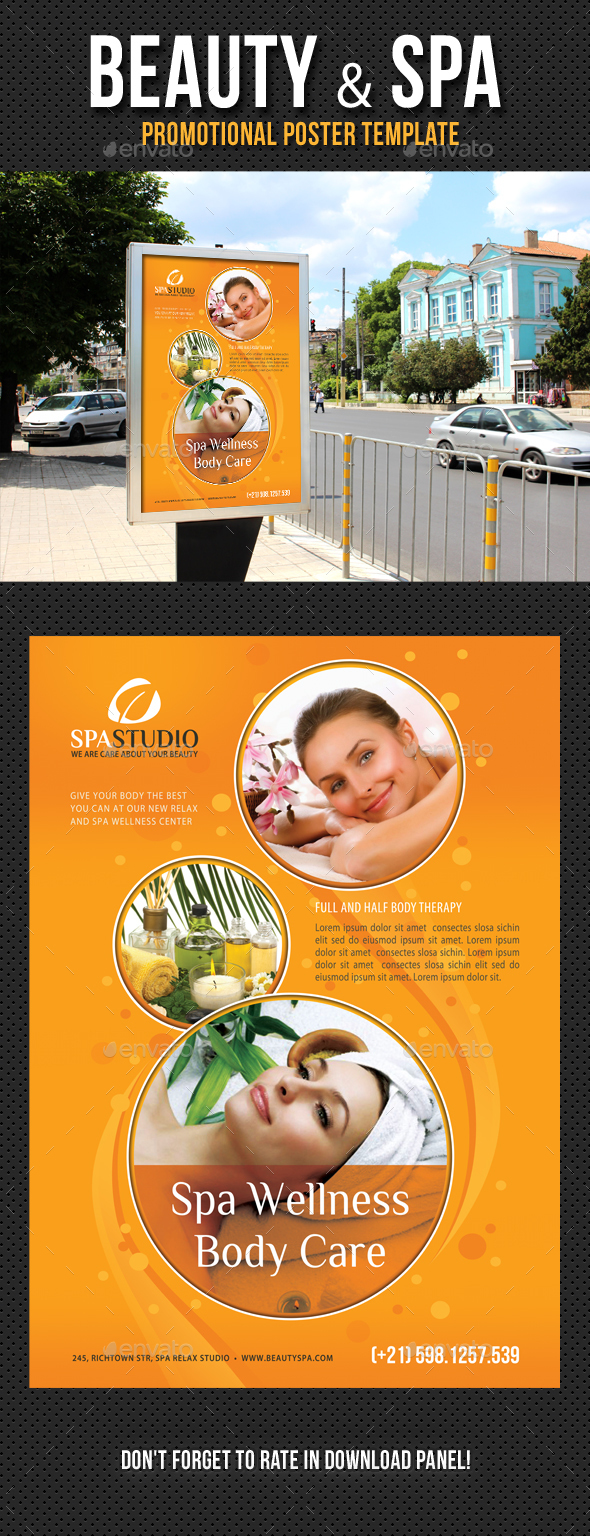 Beauty and Spa Poster Template V05 - Signage Print Templates