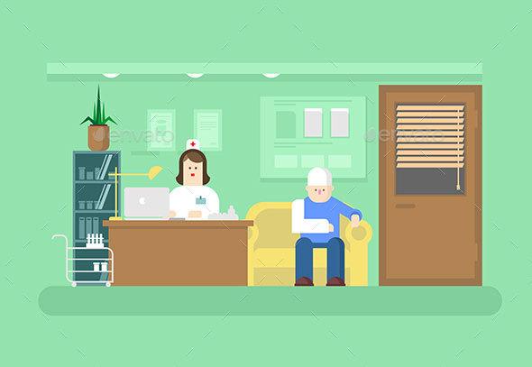 Reception of Doctor in Clinic - Health/Medicine Conceptual
