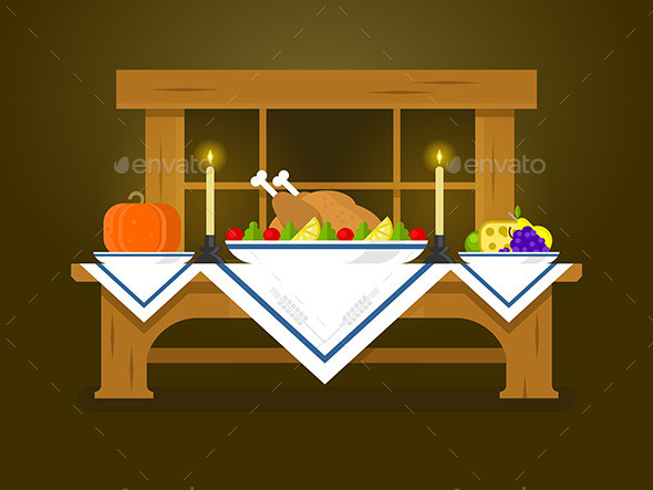 Holiday Table for Thanksgiving - Food Objects