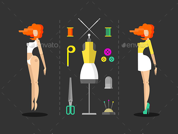 Fashion and Sewing Hand Work - Miscellaneous Vectors