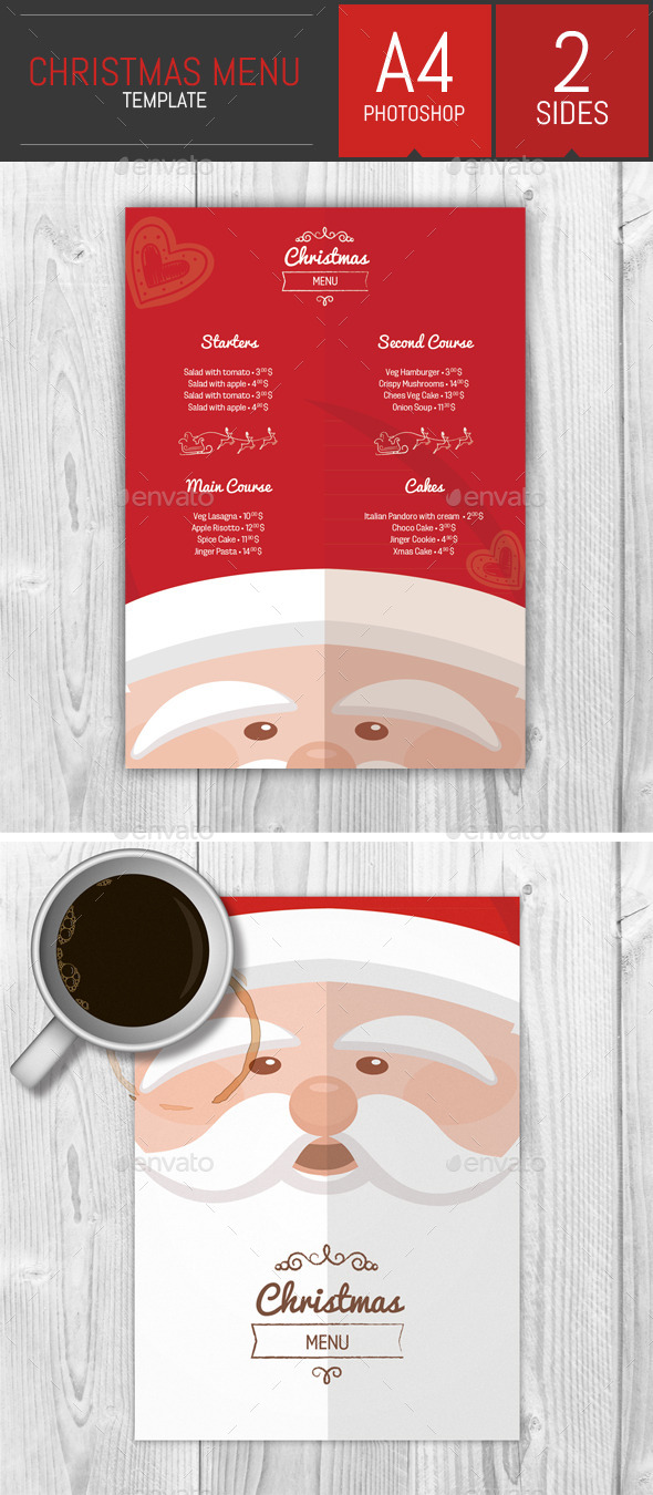 A4 Christmas Menu Template By Dogmadesign Graphicriver