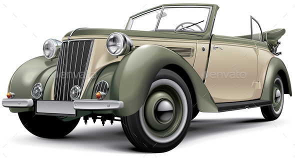 European Prewar Luxury Convertible - Man-made Objects Objects