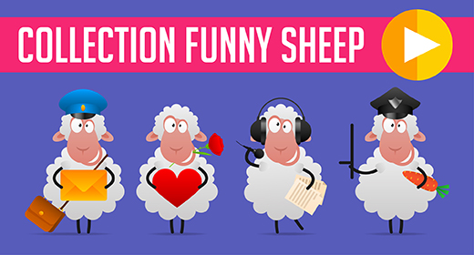 Collection funny sheep