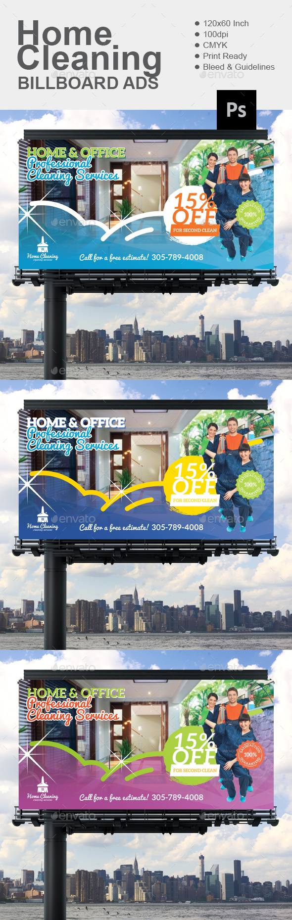 Home Cleaning Billboard - Signage Print Templates