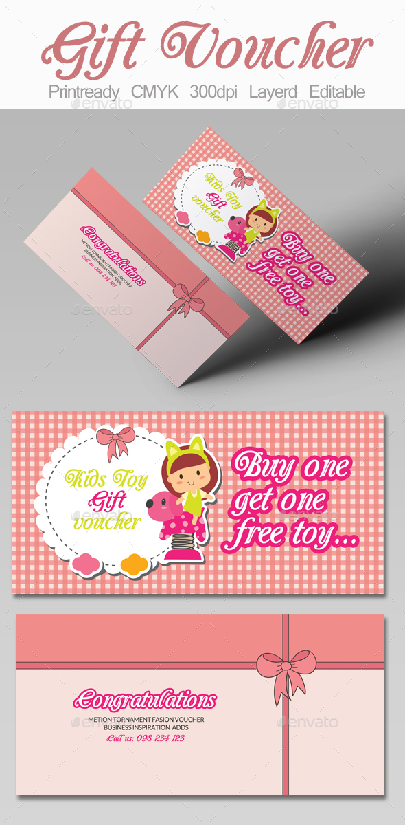 Kids Toy Gift Voucher - Cards & Invites Print Templates