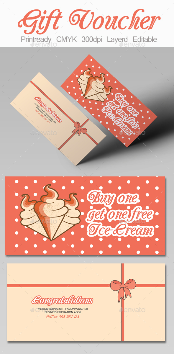Ice Cream Discount Gift Voucher - Cards & Invites Print Templates