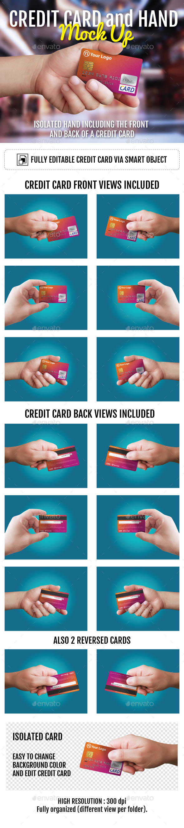 Credit Card and Hand Mockup - Miscellaneous Product Mock-Ups
