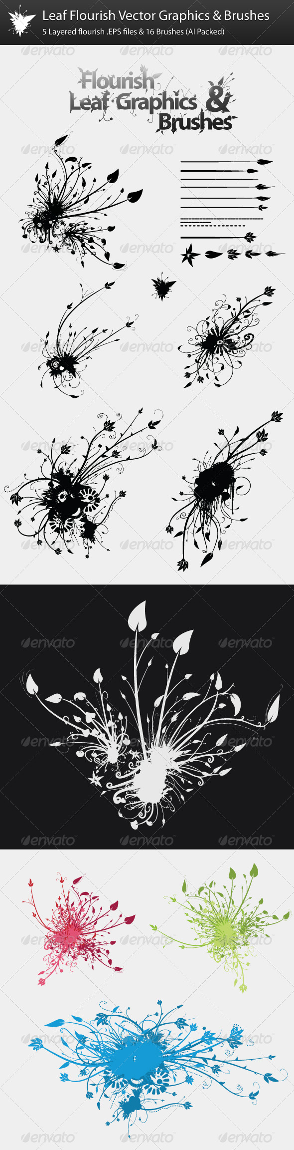 Leaf Flourish Vector Graphics & Brushes - Flourishes / Swirls Decorative