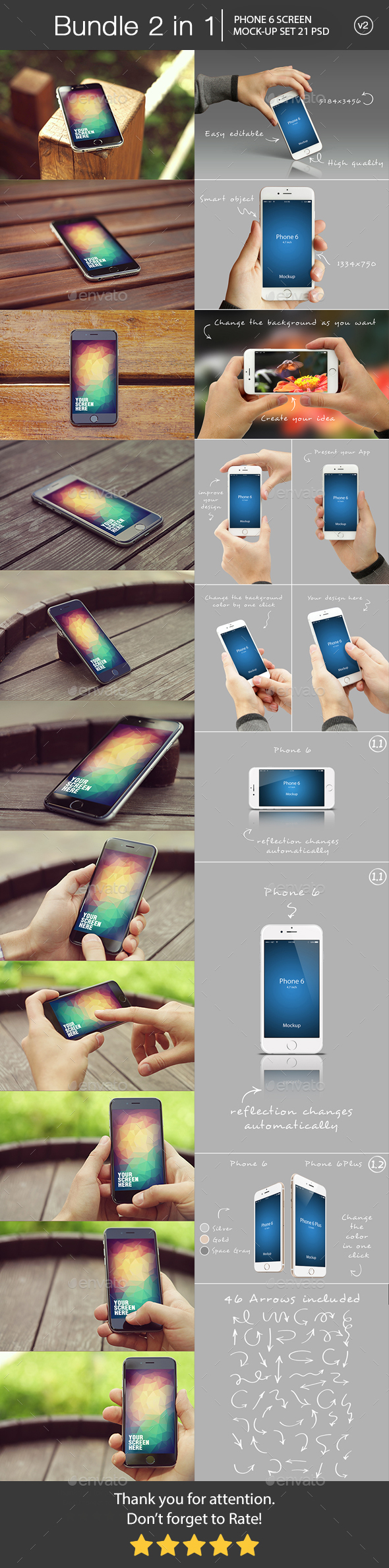 iPhone 6 Mockup Bundle 2 in 1 v2 - Mobile Displays