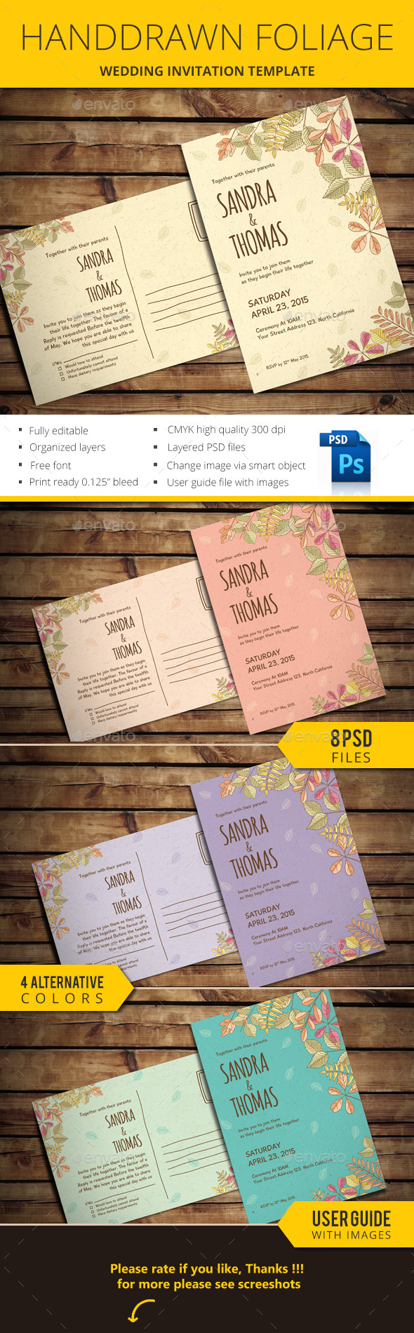 Handdrawn Foliage Wedding Invitation - Invitations Cards & Invites