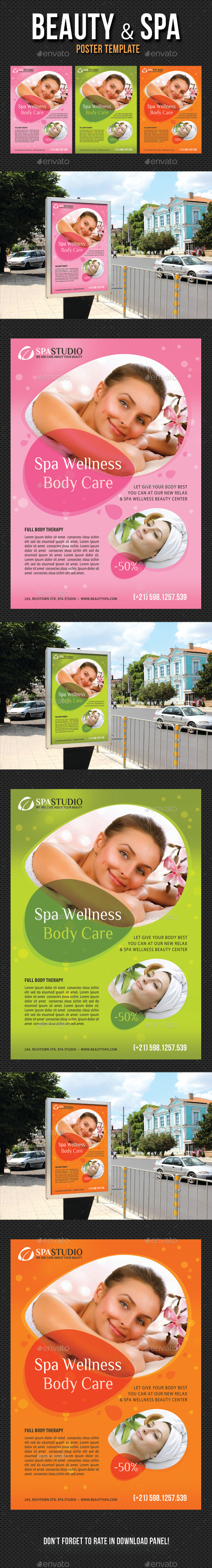 Beauty and Spa Poster Template V06 - Signage Print Templates