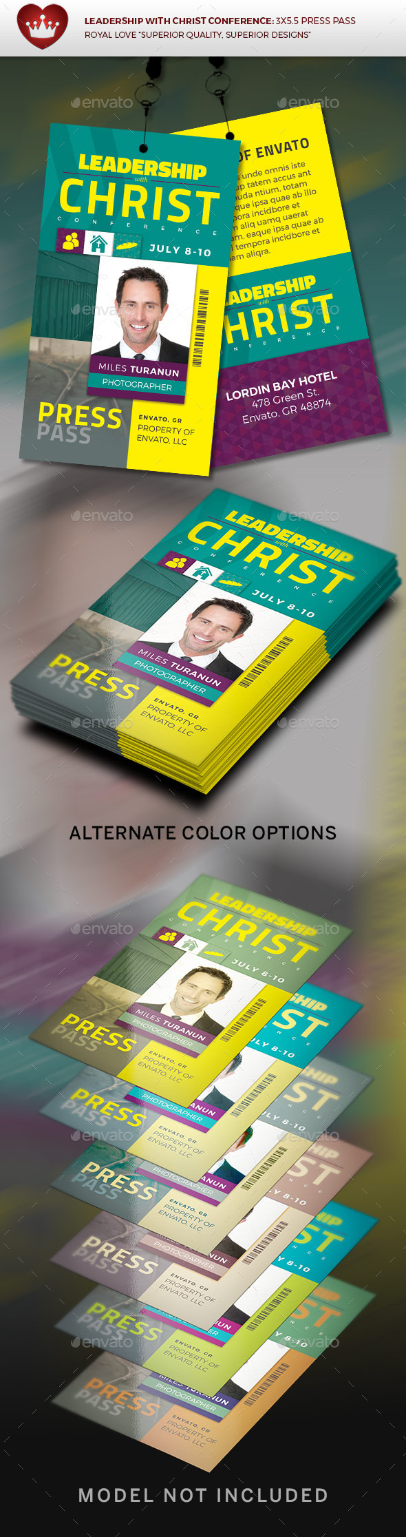 leadership with christ conference press pass by royallove graphicriver. Black Bedroom Furniture Sets. Home Design Ideas
