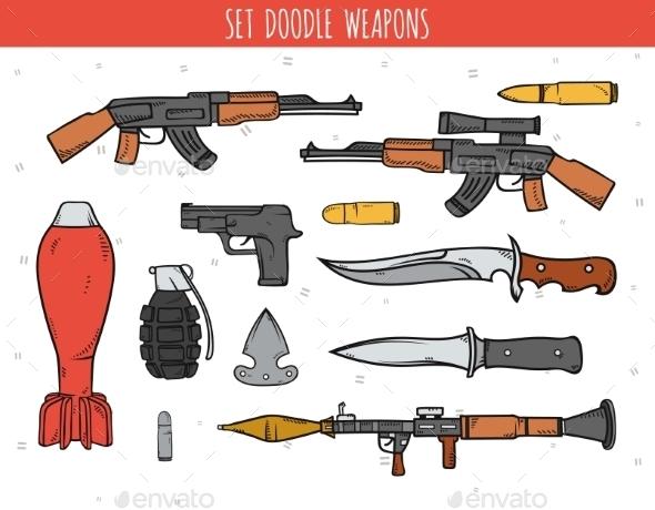 Weapon Doodles - Tattoos Vectors