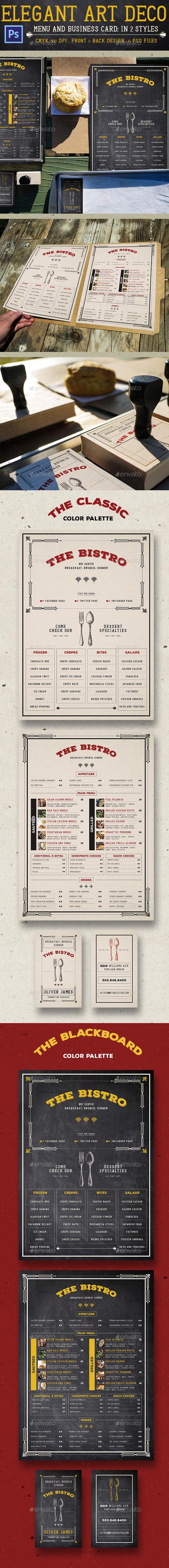 Elegant Art Deco Menu - Food Menus Print Templates