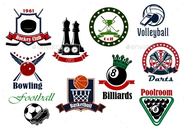 Heraldic Sport Icons With Game Items - Sports/Activity Conceptual