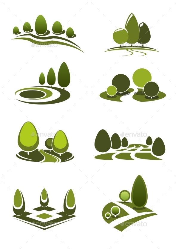 Green Park And Garden Landscape Icons - Landscapes Nature