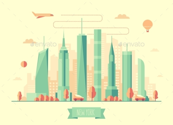 New York City Skyline Vector Illustration Flat - Landscapes Nature