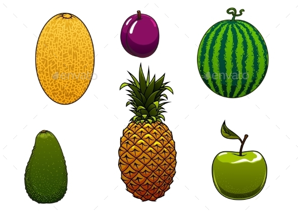 Ripe Watermelon, Apple And Other Fruits - Food Objects
