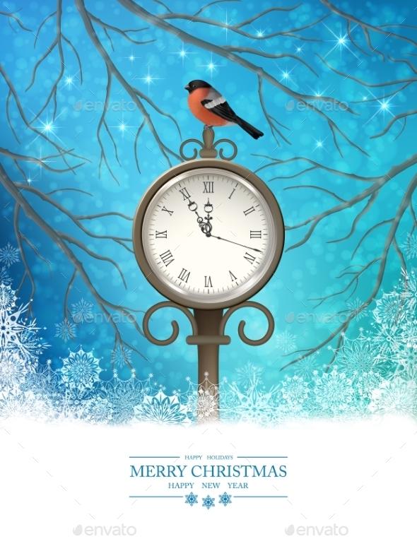 Vector Winter Christmas Scene Background - New Year Seasons/Holidays
