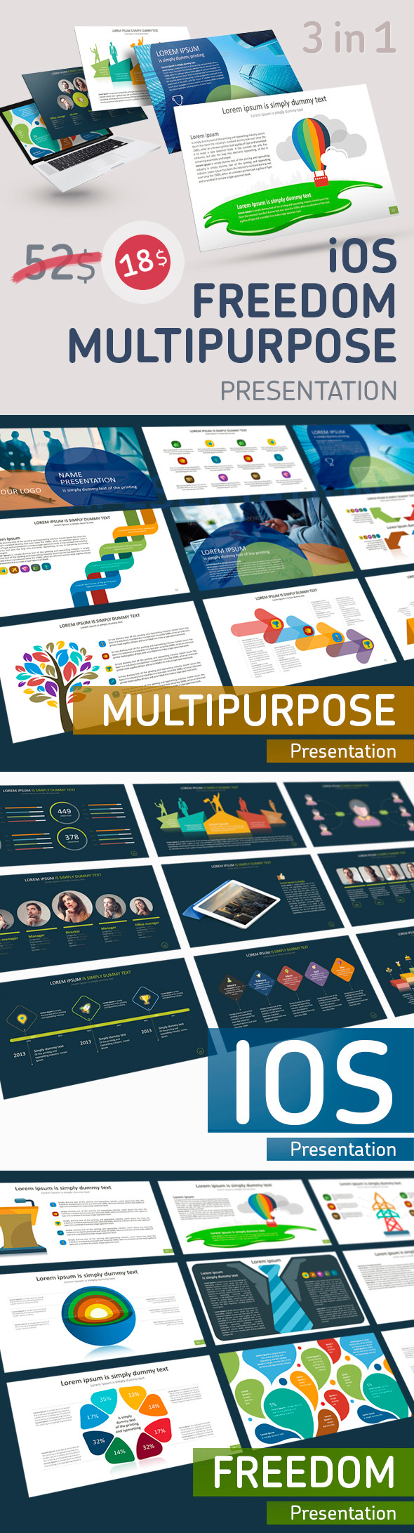 3 in 1 Pack Presentation PowerPoint - Business PowerPoint Templates