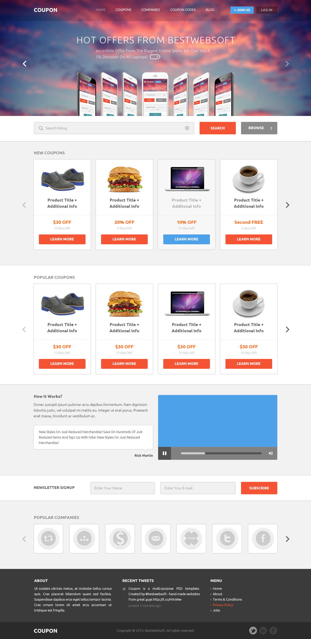 Coupon - Coupons and Promo Codes PSD Template by bestwebsoft ...