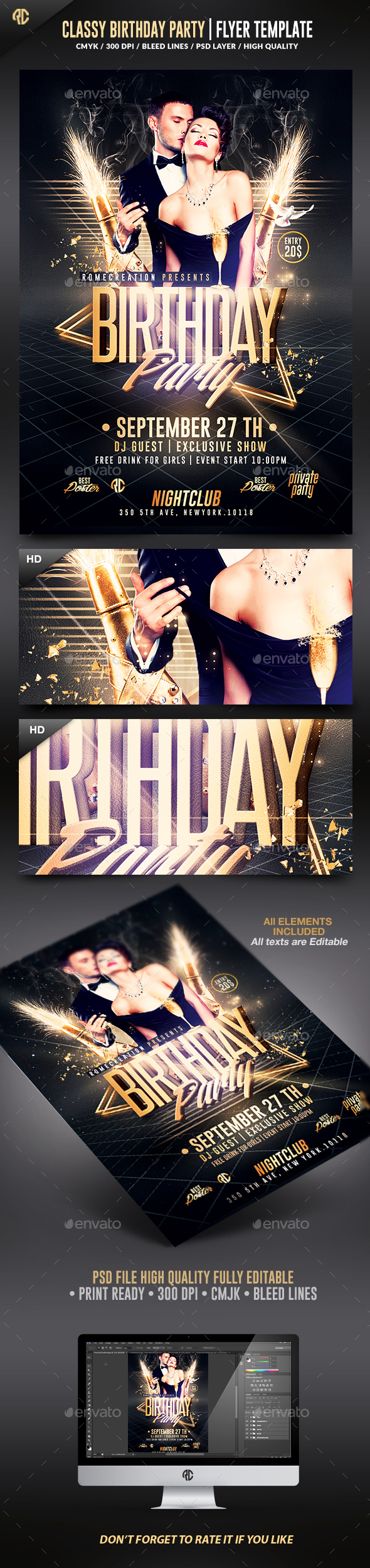 Classy Birthday Party | Psd Flyer Template - Clubs & Parties Events