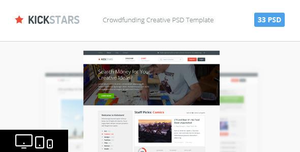 Kickstars - Crowdfunding PSD Template - Miscellaneous PSD Templates