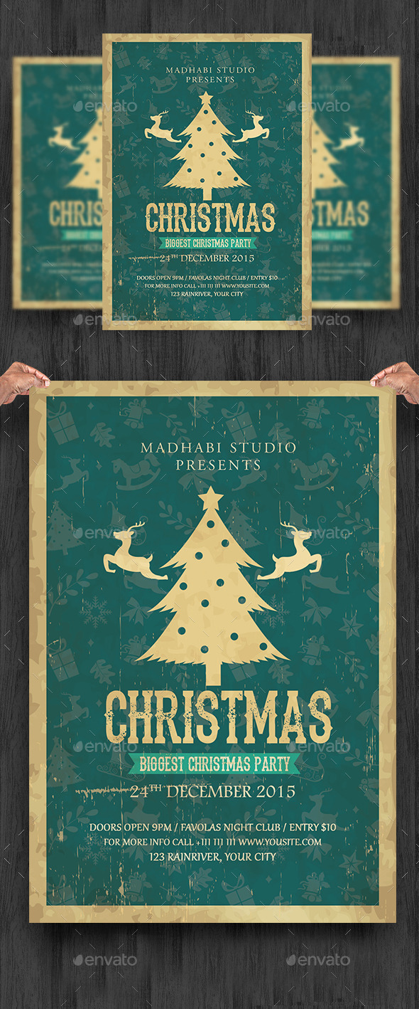 Vintage Christmas Flyer Template - Clubs & Parties Events