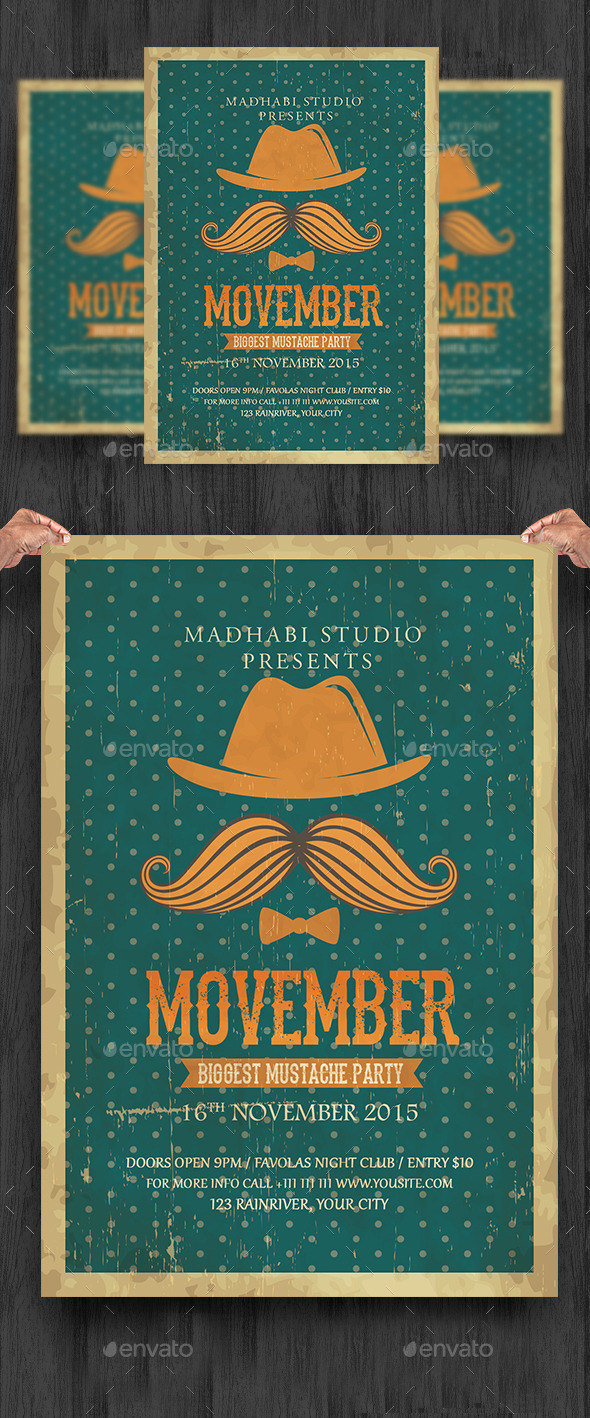 Vintage Movember Flyer Template - Clubs & Parties Events