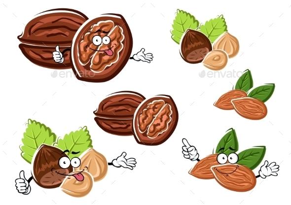 Almond, Walnut And Hazelnut With Kernels - Food Objects