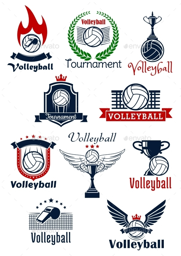 Volleyball Tournament Or Team Symbols - Sports/Activity Conceptual