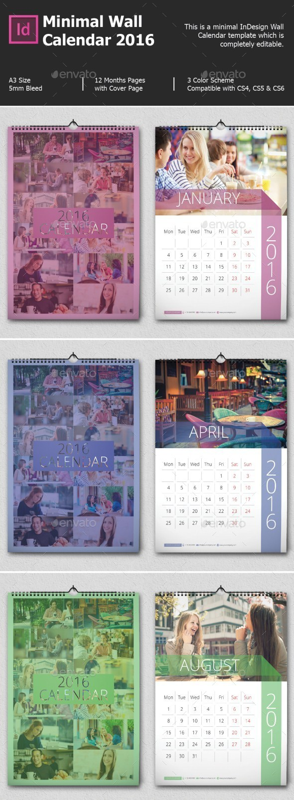 Minimal Wall Calendar 2017 - Calendars Stationery