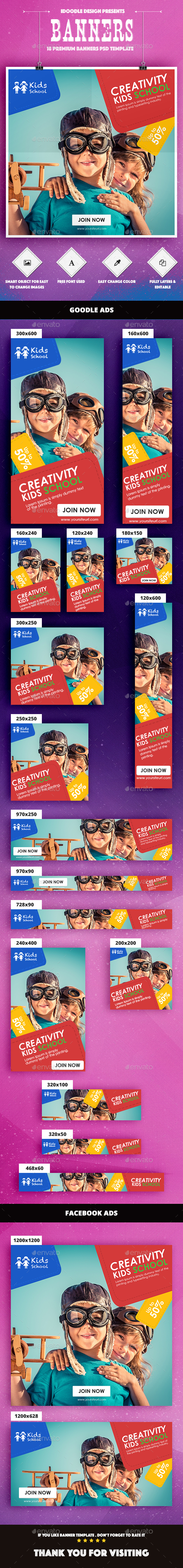 Kids Creative & School Banners Ad - Banners & Ads Web Elements