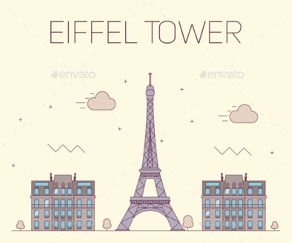 Eiffel Tower In Paris. Vector Illustration - Buildings Objects