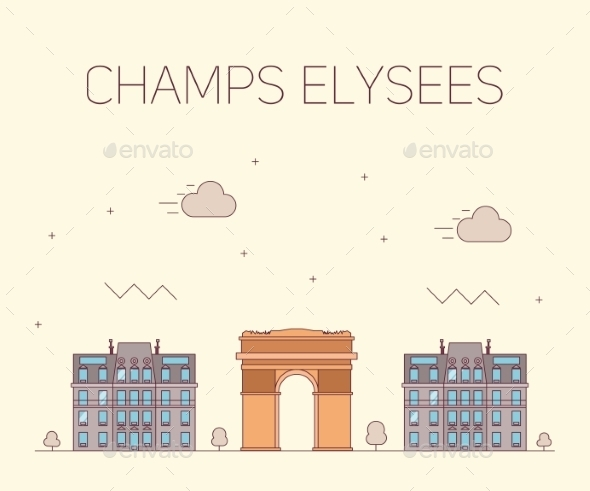 Vector Illustration Arch Of Triumph In Flat Design - Buildings Objects