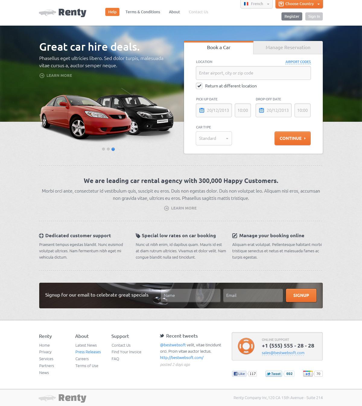Renty Car Rental Booking Psd Template By Bestwebsoft Themeforest