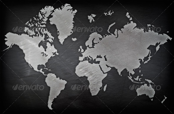 Brushed Metal World Map - Backgrounds Graphics