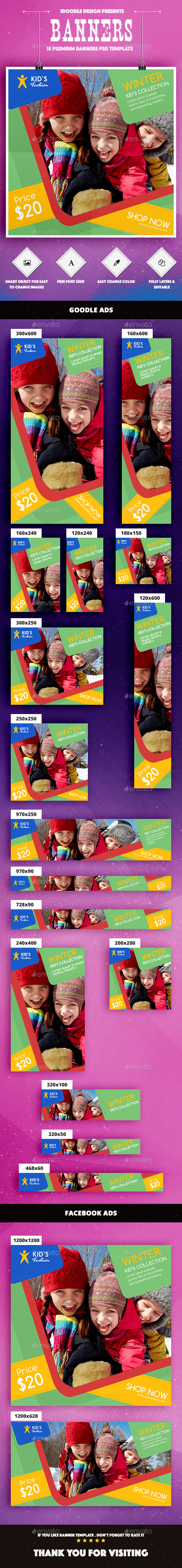 Kids Fashion Banners Ad - Banners & Ads Web Elements