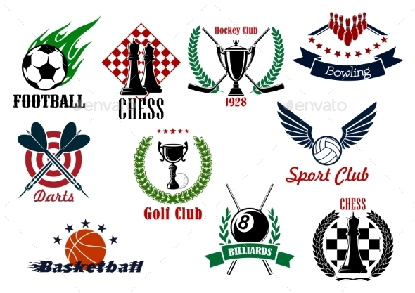 Sporting Emblems, Icons And Symbols - Sports/Activity Conceptual