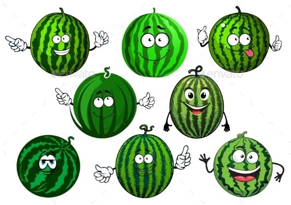 Cartoon Green Striped Watermelon Fruits - Food Objects